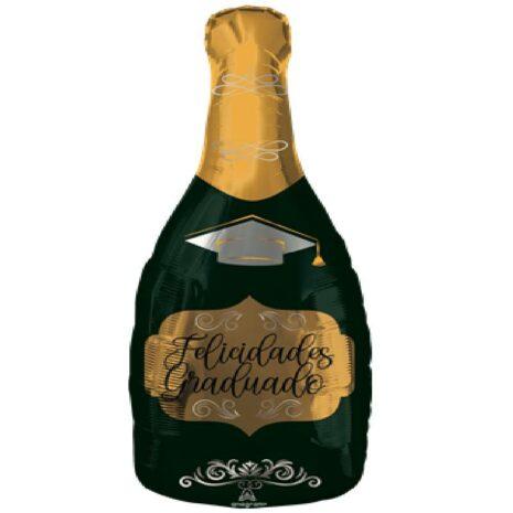Globo Metalico Felicidades Graduado Botella Verde de Champagne de Graduacion, 18 Pulgadas en Forma de Botella, Marca Anagram