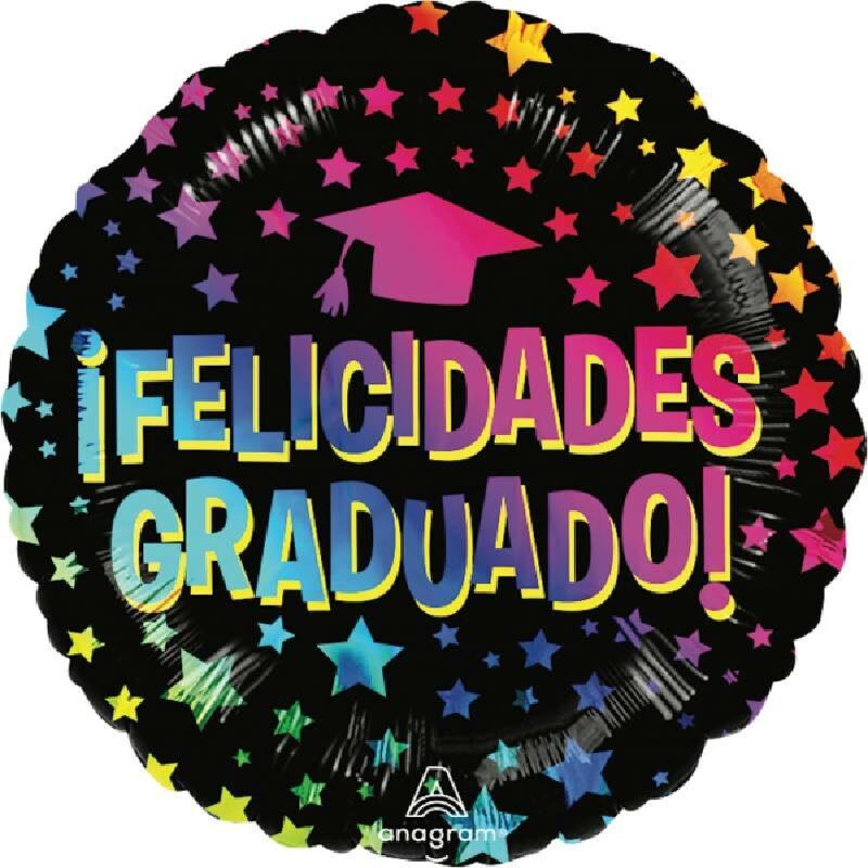 Globo Metalico Felicidades Graduado Magia de Estrellas de Graduacion, 18 Pulgadas en Forma Circular, Acabado Gellibeans, Marca Angram