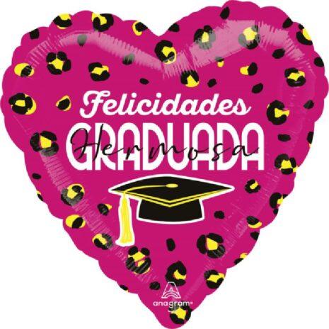 Globo Metalico Felicidades Graduada Hermosa Magia Rosa de Graduacion, 18 Pulgadas en Forma de Corazon, Marca Anagram
