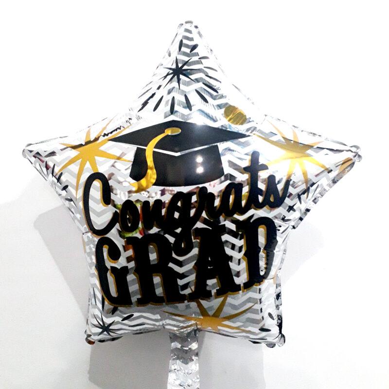 Globo Metalico Congrats Grad Magia Birrete de Graduacion, 18 Pulgadas en Forma de Estrella, Marca Kaleidoscope