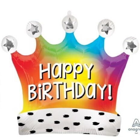 Globo Metalico Happy Birthday Corona Arcoiris de Cumpleaños, 36 Pulgadas en Forma de Corona, Marca Anagram