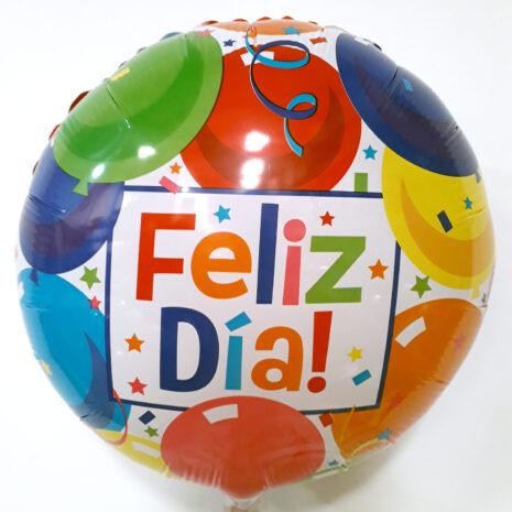 Globo Metalico Feliz Dia Lluvia Magica de Globos de Cumpleaños, 18 Pulgadas en Forma de Circulo, Acabado Gellibeans, Marca Kaleidoscope