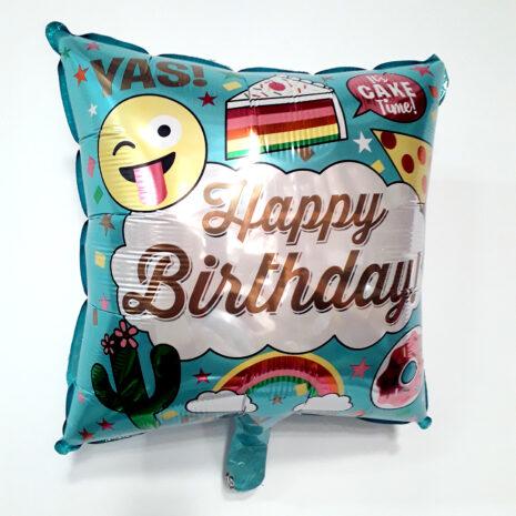Globo Metalico Happy Birthday Emojis y Party Hard de Cumpleaños, 18 Pulgadas en Forma de Cuadrado, Marca Kaleidoscope