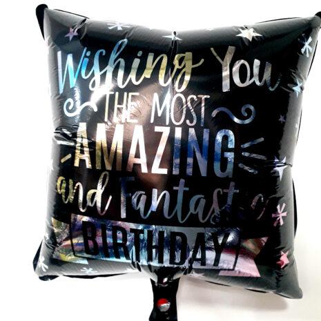 Globo Metalico Wishing You The Most Amazing Birthday Magia Silver de Cumpleaños, 18 Pulgadas en Forma de Cuadrado, Marca Kaleidoscope