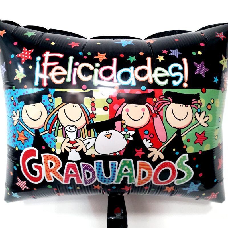 Globo Metalico Felicidades Graduados Fulanitos de Graduacion, 20 Pulgadas en Forma de Cuadrado, Acabado Gellibeans, Marca Kaleidoscope