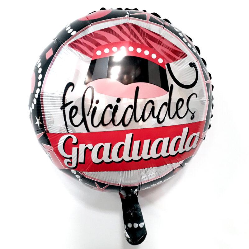Globo Metalico Felicidades Graduada Fiesta Pop de Graduacion, 18 Pulgadas en Forma de Circulo, Marca Kaleidoscope