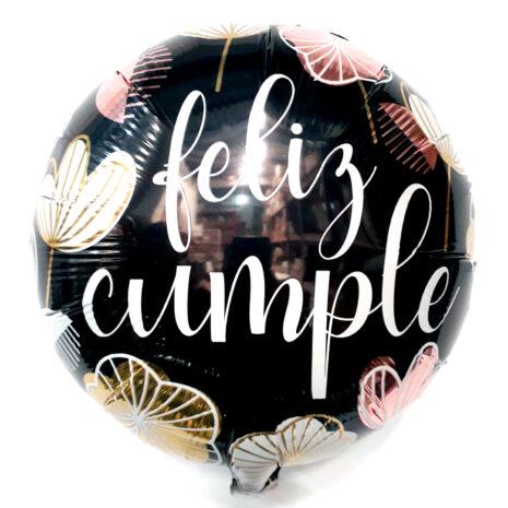 Globo Metalico Feliz Cumple Floral de Cumpleaños, 18 Pulgadas en Forma de Circulo, Marca Kaleidoscope