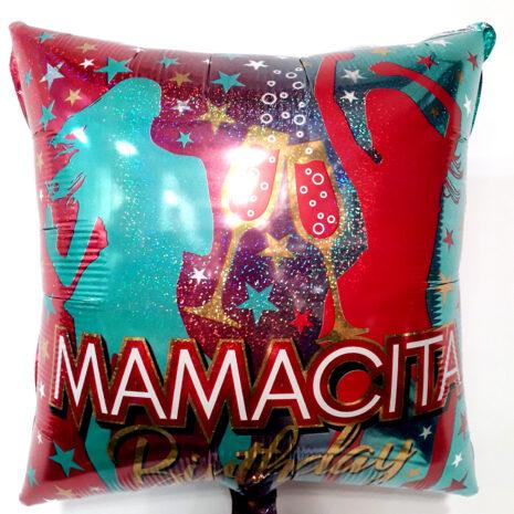 Globo Metalico Mamacita Birthday Party Disco de Cumpleaños, 18 Pulgadas en Forma de Cuadrado, Acabado Holografico, Marca Kaleidoscope
