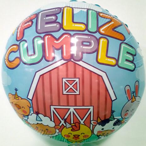 Globo Metalico Feliz Cumple Granja Animada de Cumpleaños, 18 Pulgadas en Forma de Circulo, Acabado Gellibeans, Marca Kaleidoscope