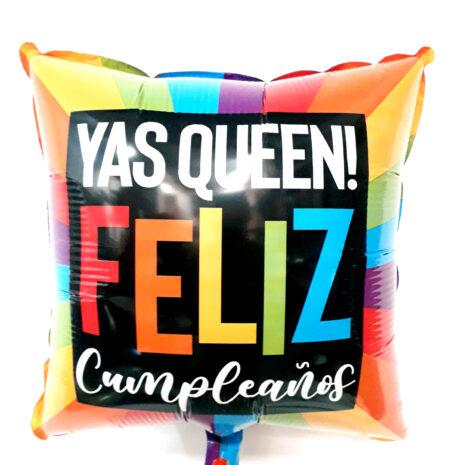 Globo Metalico Yas Queen Feliz Cumpleaños Multicolor de Cumpleaños, 18 Pulgadas en Forma de Cuadrado, Acabado Gellibeans, Marca Kaleidoscope