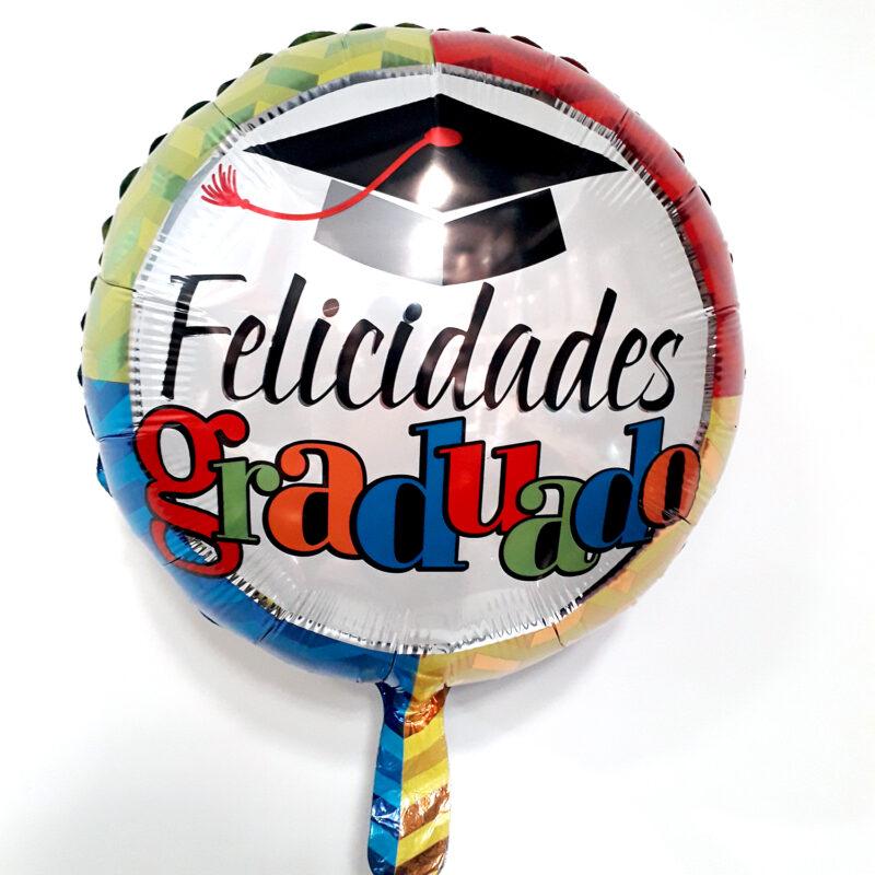 Globo Metalico Felicidades Graduado Multicolor de Graduacion, 18 Pulgadas en Forma de Circulo, Marca Kaleidoscope