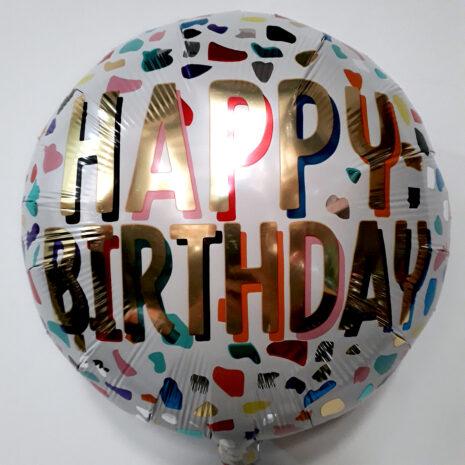 Globo Metalico Happy Birthday Leopardo de Cumpleaños, 18 Pulgadas en Forma de Circulo, Marca Anagram
