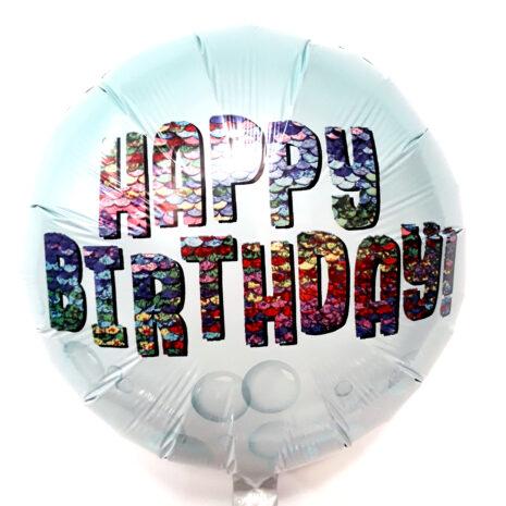 Globo Metalico Happy Birthday Magia Burbuja de Cumpleaños, 18 Pulgadas en Forma de Circulo, Marca Anagram