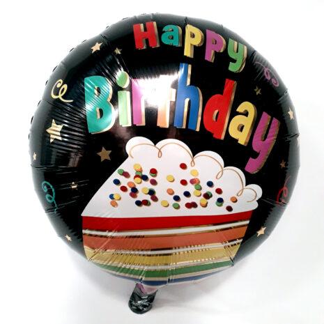 Globo Metalico Happy Birthday Magia Silver Rebanada de Pastel de Cumpleaños, 18 Pulgadas en Forma de Circulo, Marca Anagram