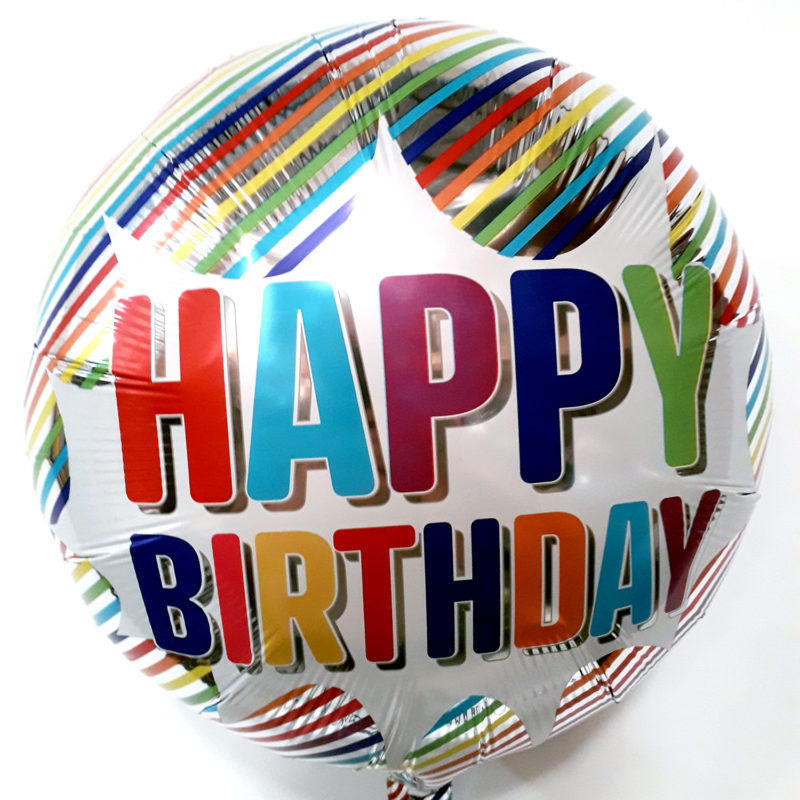 Globo Metalico Happy Birthday Lineas Multicolor de Cumpleaños, 18 Pulgadas en Forma de Circulo, Marca Anagram