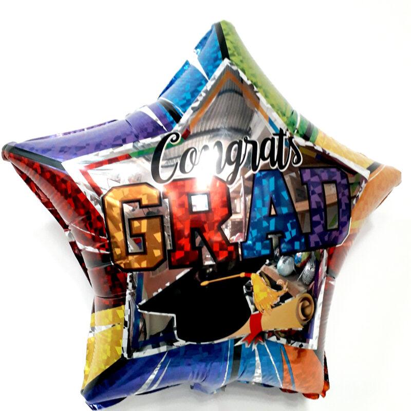 Globo Metalico Congrats Grad Magia Estrella de Graduacion, 18 Pulgadas en Forma de Estrella, Marca Kaleidoscope