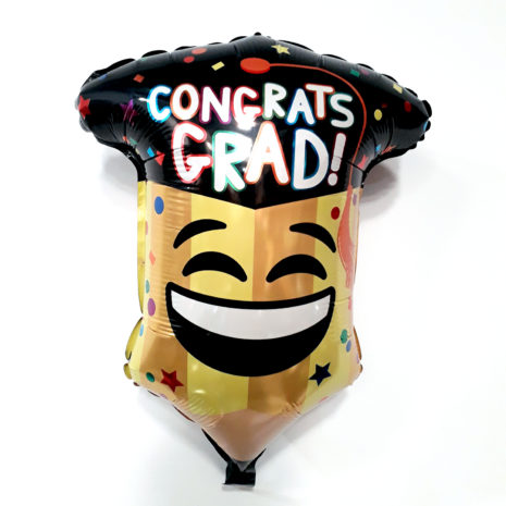 Globo Metalico Congrats Grad Emoji Party de Graduacion, 18 Pulgadas en Forma de Silueta, Marca Kaleidoscope