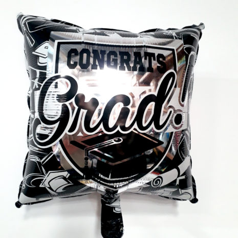 Globo Metalico Congrats Grad de Graduacion, 18 Pulgadas en Forma de Cuadrado, Marca Kaleidoscope