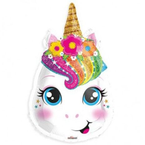 Globo Metalico Unicornio Bebe de Cumpleaños, 18 Pulgadas en Forma de Silueta, Marca Kaleidoscope