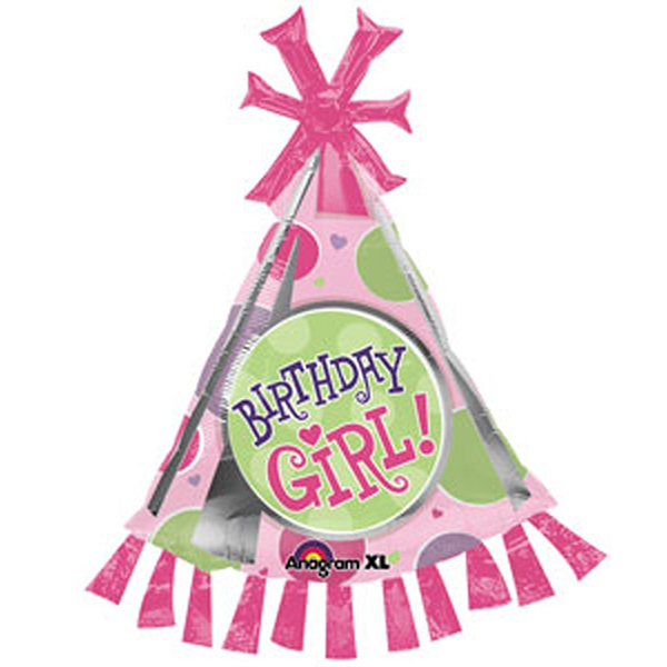 Globo Metalico Happy Birthday Girl Gorrito Cumpleañera de Cumpleaños, 36 Pulgadas en Forma de Ultrashape, Marca Anagram