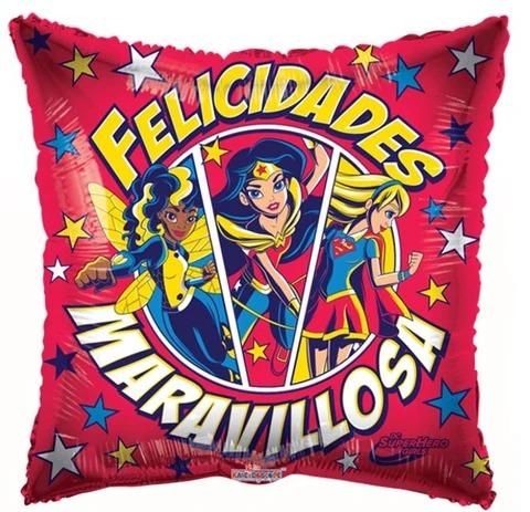 Globo Metalico Felicidades Maravillosa Magia Roja de Cumpleaños, 18 Pulgadas en Forma de Cuadrado, Marca Kaleidoscope