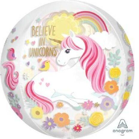 Globo Metalico Orbz Belive In Unicorns de Cumpleaños, 15 Pulgadas en Forma Circular, Marca Anagram