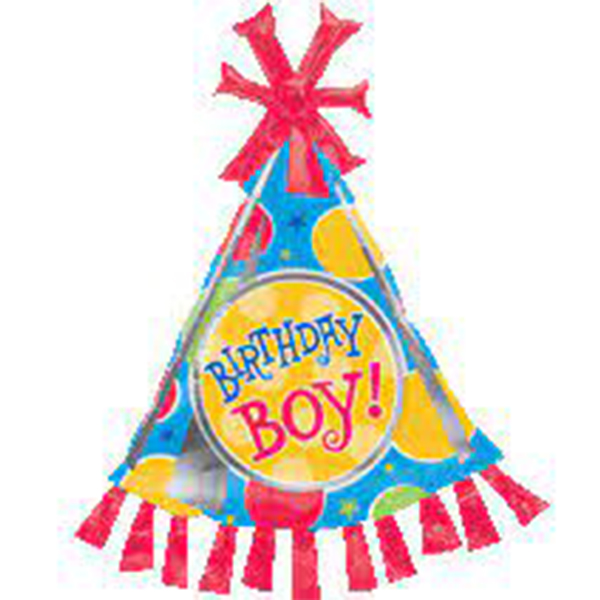 Globo Metalico Happy Birthday Boy Gorrito Cumpleañero de Cumpleaños, 36 Pulgadas en Forma de Ultrashape, Marca Anagram