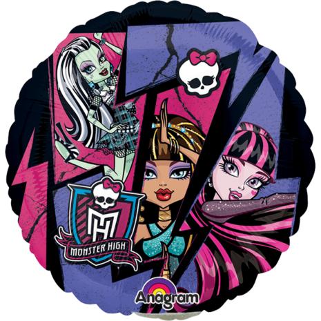 Globo Metalico Monster High Magia Mosaico de Personaje, 09 Pulgadas en Forma de Circulo, Marca Anagram