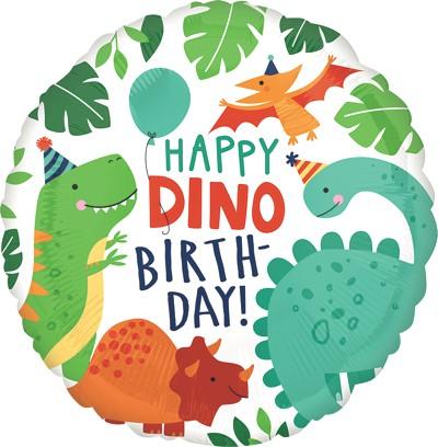 Globo Metalico Happy Birthday Dinosaurios Bebes de Cumpleaños, 18 Pulgadas en Forma de Circulo, Marca Anagram