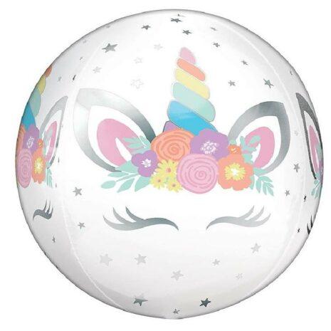Globo Metalico Orbz Unicornio de Cumpleaños, 15 Pulgadas en Forma Circular, Marca Anagram