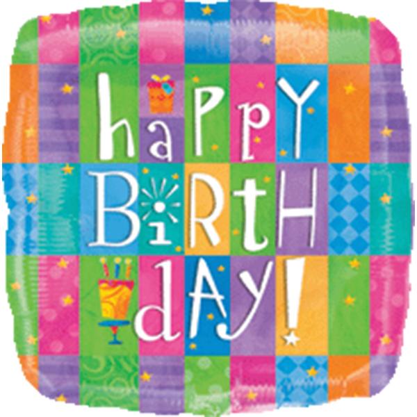 Globo Metalico Happy Birthday Day de Cumpleaños, 36 Pulgadas en Forma de Cuadrado, Marca Anagram
