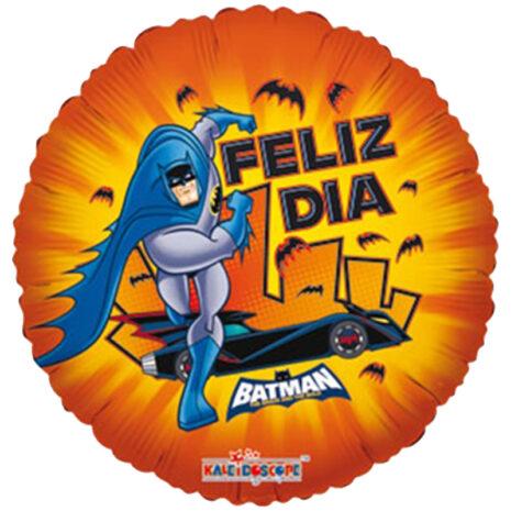 Globo Metalico Feliz Dia Batman Magia Murcielago de Personaje, 09 Pulgadas en Forma de Circulo, Marca Kaleidoscope