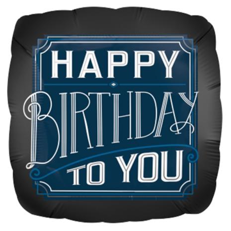 Globo Metalico Happy Birthday To You de Cumpleaños, 18 Pulgadas en Forma de Cuadrado, Marca Anagram