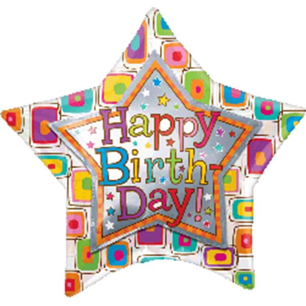 Globo Metalico Happy Birthday Megacolors de Cumpleaños, 36 Pulgadas en Forma de Estrella, Marca Anagram