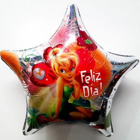 Globo Metalico Feliz Dia TinkerBell Magia Primavera de Personaje, 09 Pulgadas en Forma de Estrella, Marca Anagram