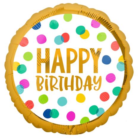Globo Metalico Happy Birthday Magia Dorada de Cumpleaños, 18 Pulgadas en Forma de Circulo, Marca Anagram