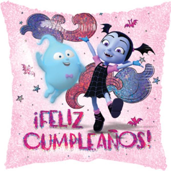 Globo Metalico Feliz Cumpleaños Vampirina Festejando de Cumpleaños, 18 Pulgadas en Forma de Cuadrado, Marca Anagram