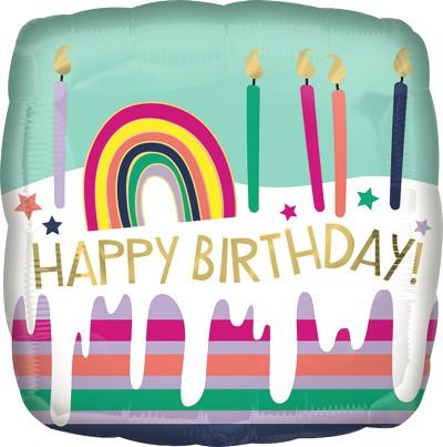 Globo Metalico Happy Birthday Pastel Arcoiris de Cumpleaños, 18 Pulgadas en Forma de Cuadrado, Marca Anagram