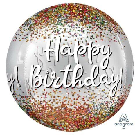 Globo Metalico Orbz Happy Birthday de Cumpleaños, 15 Pulgadas en Forma Circular, Marca Anagram