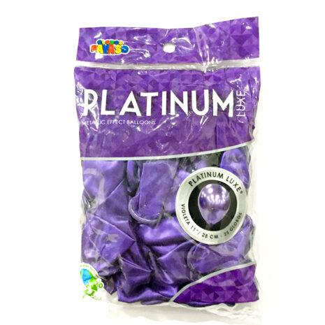 Globo de Latex Platinum Luxe Decorativo, #11 Pulgadas Forma Redondo, Bolsa con 25 Piezas, 100 % Biodegradable, Marca Payaso