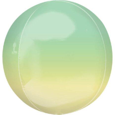 Globo Metalico Orbz Verde Amarillo de Cumpleaños, 15 Pulgadas en Forma Circular, Marca Anagram