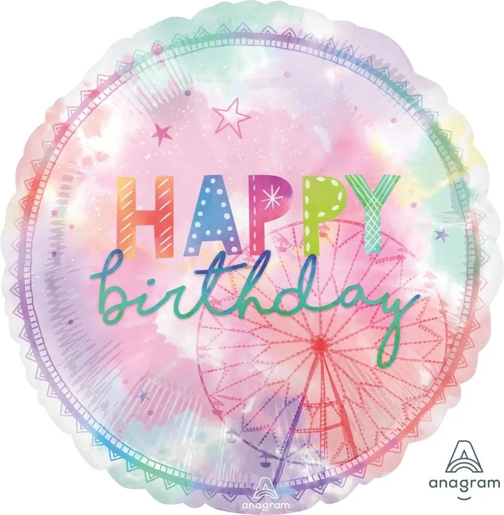 Globo Metalico Happy Birthday Colores Pastel de Cumpleaños, 36 Pulgadas en Forma de Circulo, Marca Anagram