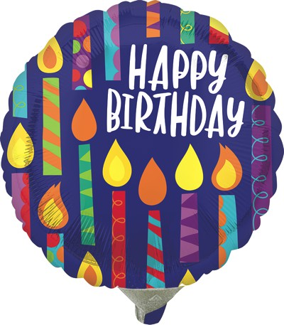 Globo Metalico Happy Birthday Velas Magicas de Cumpleaños, 09 Pulgadas en Forma de Circulo, Marca Anagram