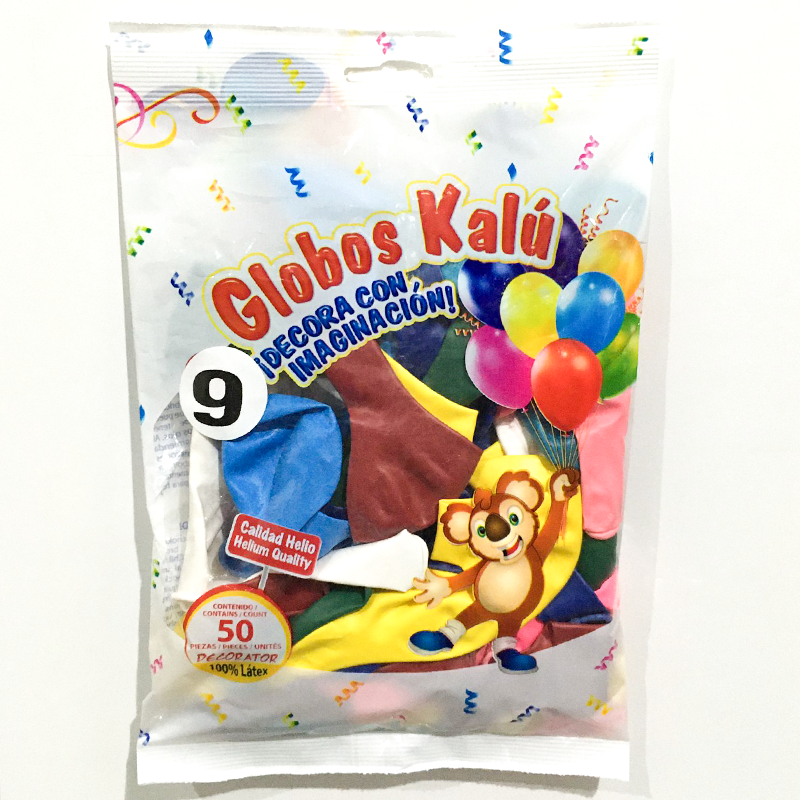 Globo de Latex Solido Decorativo, #09 Pulgadas Forma Redondo, Bolsa con 50 Piezas, 100 % Biodegradable, Marca Kalu