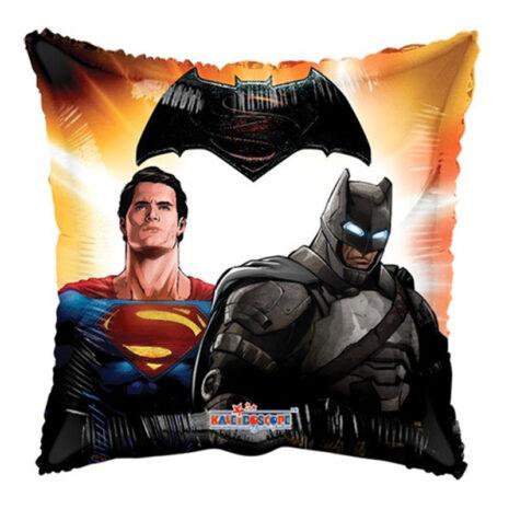 Globo Metalico Super Man y Batman de Personaje, 09 Pulgadas en Forma de Cuadrado, Marca Kaleidoscope