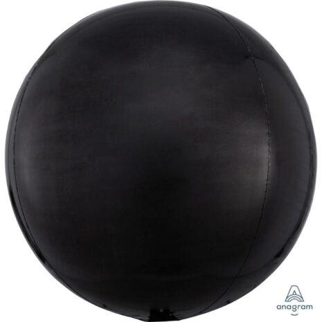 Globo Metalico Orbz Negro de Cumpleaños, 15 Pulgadas en Forma Circular, Marca Anagram