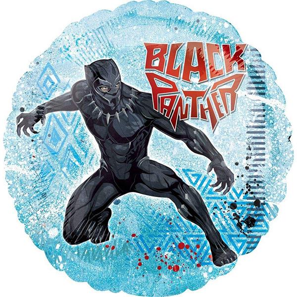 Globo Metalico Black Panther al Ataque de Cumpleaños, 18 Pulgadas en Forma de Circulo, Marca Anagram