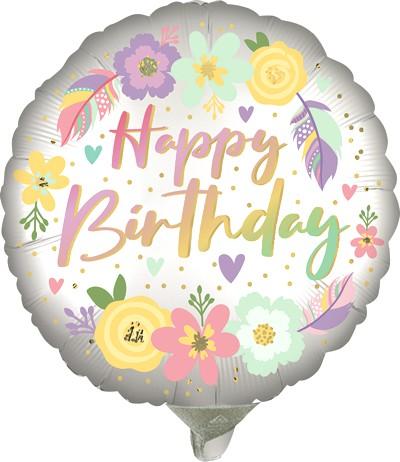 Globo Metalico Happy Birthday Floral de Cumpleaños, 09 Pulgadas en Forma de Circulo, Marca Anagram
