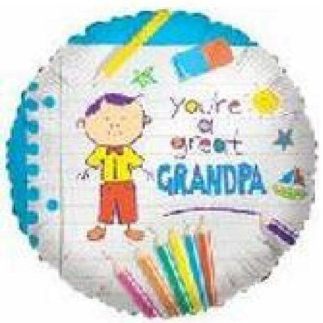 Globo Metalico You Are a Great Granpa  Magia Infantil de Papa, 18 Pulgadas en Forma de Circulo, Marca Kaleidoscope