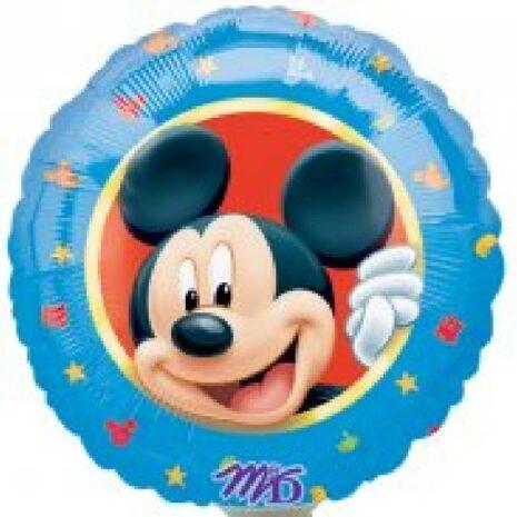 Globo Metalico Mickey Mouse Retrato Sonriendo de Personaje, 09 Pulgadas en Forma de Circulo, Marca Anagram